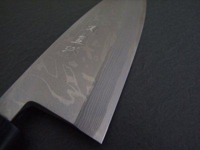 画像1: 伝統工芸士 火造り本鍛造  鳳皇琳 出刃庖丁 165mm 積層流 白紙二号 紫檀鎬柄
