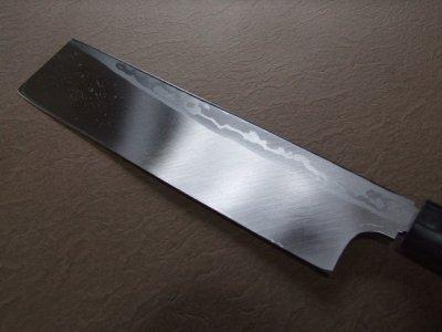 画像3: 伝統工芸士 火造り本鍛造  鳳皇琳 東型薄刃庖丁 195mm 積層流 白紙二号 紫檀鎬柄