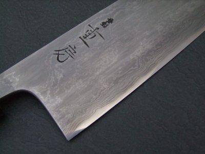 画像1: 日本の名工 重房作 (飯塚解房) 鍛地 三徳 鍛地+スウェーデン鋼 水牛桂朴柄