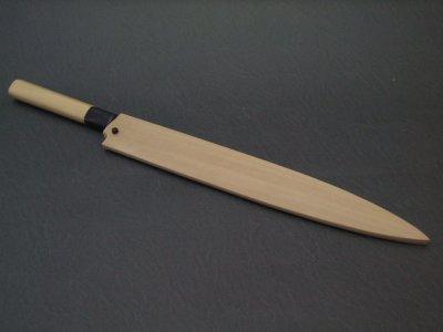 画像2: 日本の名工 重房作 (飯塚解房) 本霞 柳刃包丁 スウェーデン鋼 水牛桂朴柄 天然朴木鞘付き