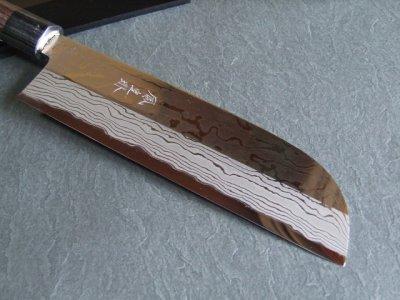 画像1: 積層流鏡面仕上げ 伝統工芸士 火造り本鍛造  鳳皇琳  鎌型薄刃庖丁 210mm  白紙二号 紫檀鎬柄 黒木鞘付き