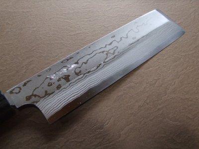 画像1: 伝統工芸士 火造り本鍛造  鳳皇琳 東型薄刃庖丁 195mm 積層流 白紙二号 紫檀鎬柄